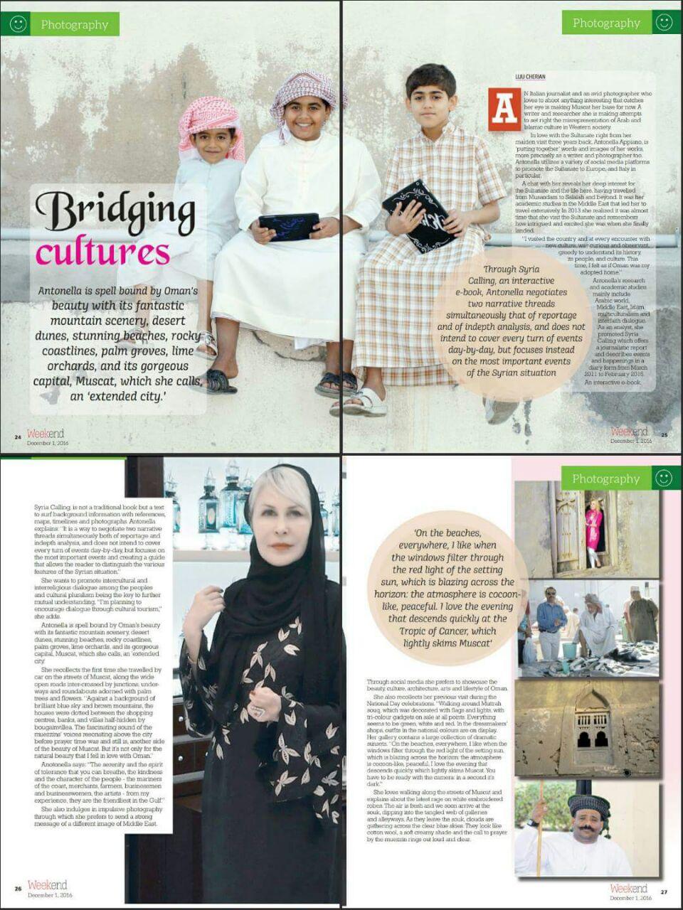Bridging Cultures - Antonella Appiano interviewed on Weekend magazine Omanobserver